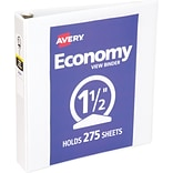 Avery Economy View Binder with 1-1/2 Round Ring, White (5726)