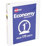 Avery Economy Round-Ring View Binder, White, 175-Sheet Capacity, 1 Ring Diameter, 12/Pack