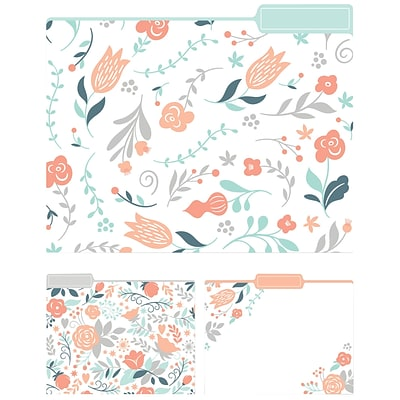 Eccolo Modern Floral Top Tab File Folders, Letter Size, 3 Tab, 9/Pack (ST617B)