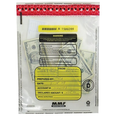 MMF Industries™ Tamper-Evident Deposit Bags, Clear, 12H x 9W, 100/Box