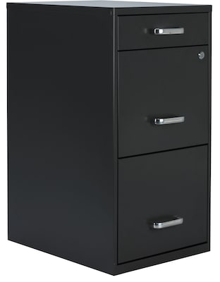 "Quill Brand® 3-Drawer Vertical File Cabinet, Locking, Letter, Charcoal, 18""D (52154)"