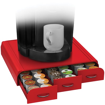 Mind Reader Anchor Coffee Pod Storage Drawer For 36 K-Cup, Red (TRY3PC-RED)