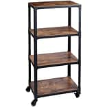 Mind Reader Charm 4 Tier Wood/Metal Utility Cart, Black
