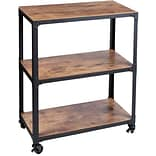 Mind Reader Charm 3 Tier Wood/Metal Utility Cart, Black