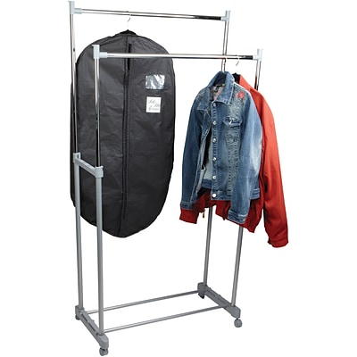 Mind Reader Adjustable Metal Double Garment Rack with Wheels, Silver/Black, (GRACKDBL-SIL)