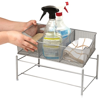 Mind Reader 3 Compartment Metal Mesh Storage Bin, Silver (CABASK-SIL)