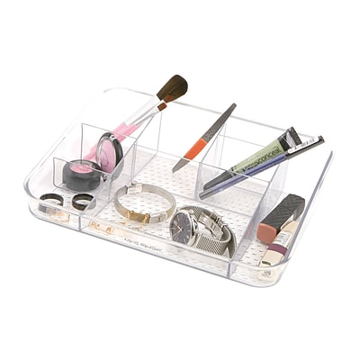 Mind Reader Acrylic Cosmetic Organizer With Flap, Clear (MAKEUP7-CLR)