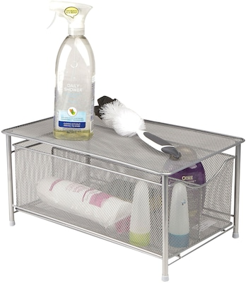 Mind Reader Storage Basket With Sliding Drawer And Steel Mesh Platform On Top, Silver (cabaskdr Sil)