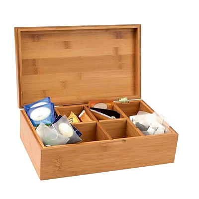 Mind Reader Bamboo Tea Storage Chest Box with 8 Compartments, Brown (BTBOX-BRN)