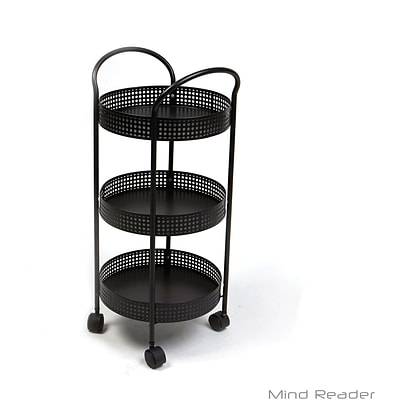 Mind Reader 3 Tier Round Kitchen Trolley, Black (3TCROUND-BLK)