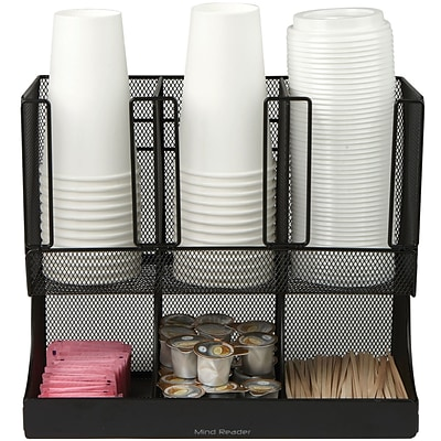 Mind Reader Flume 6 Compartment Coffee Condiment and Cup Organizer, Black Metal Mesh (UPRIGHT6MESH-BL)