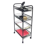 Mind Reader Roll  Rolling Metal Mesh 4 Shelf Cart, Black