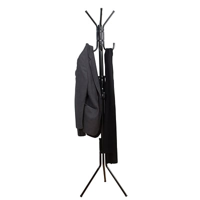 Mind Reader Hang 11 Hook Metal Coat, Jacket, Purse, Scarf Rack, Black, (COATRACK11-BLK)