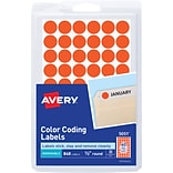 Avery® Color Coding Labels; Neon Red, 1/2 Round, 840/Pack