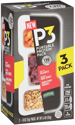 P3 Chipotle Peanuts, Original Beef Jerky, and Sunflower Kernels Pack of 3 (GEN02029)