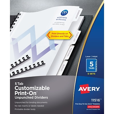 Avery® Unpunched Print-On™ Dividers 11516, White, 5 Tabs, 5 Sets (11516)