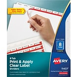 Avery Index Maker Clear Label Tab Dividers, 8-Tab, White, 5/Pack (11437)
