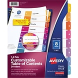 Avery® Ready Index®Table of Contents Dividers for Laser/Inkjet, Numbered 1-8, Multi-Color