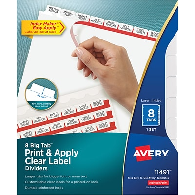 Avery Big Tab Print & Apply Clear Label Dividers, Index Maker Easy Apply Printable Label Strip, 8 White Tabs (11491)