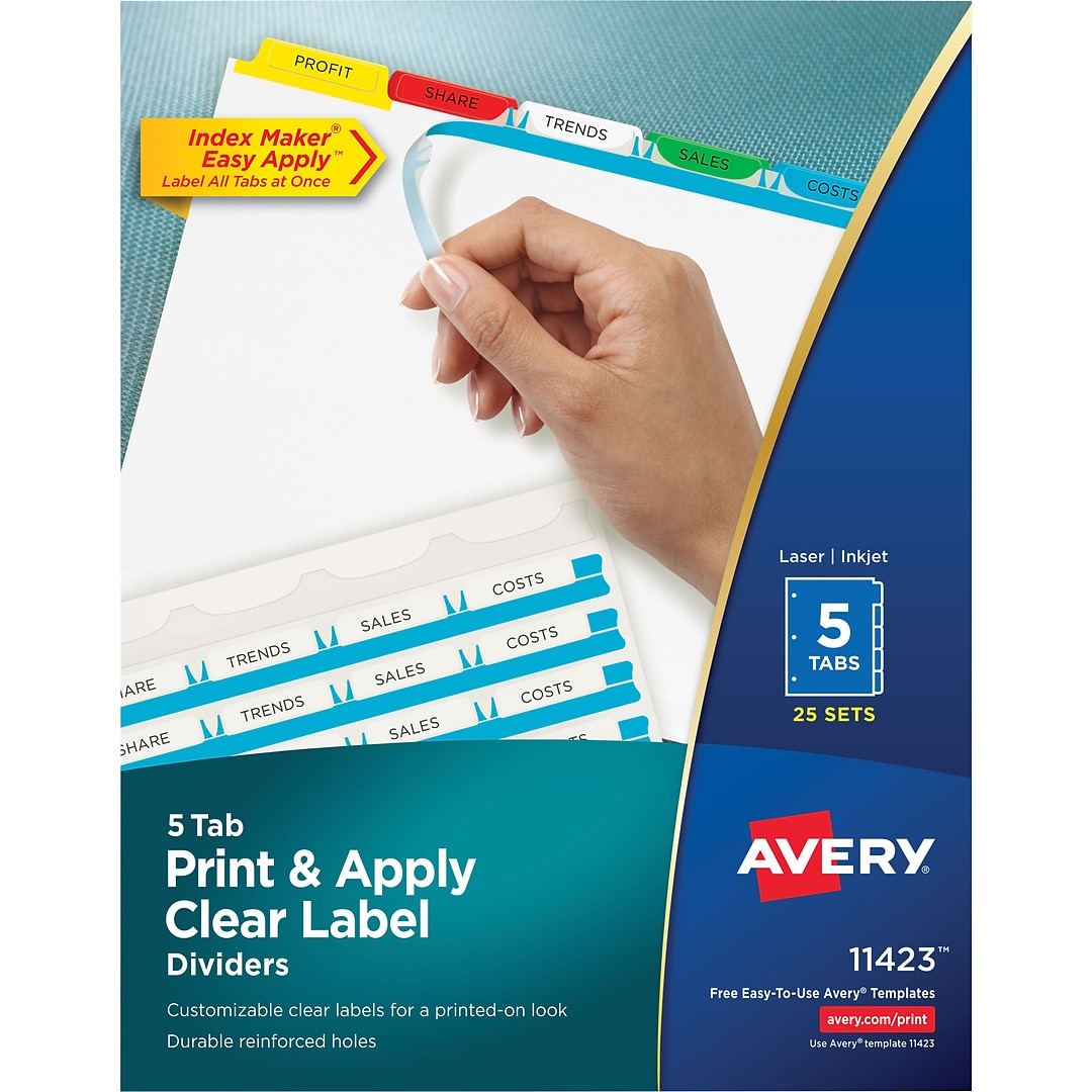 Avery Index Maker Easy Apply Clear Label Dividers Primary Multi