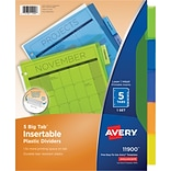 Avery Big Tab Insertable Plastic Dividers, 5-Tab, Assorted Colors (11900)