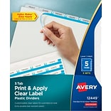 Avery® Index Maker® Clear Label Plastic Dividers, 5 Tab, Clear, 8 1/2 x 11, 5 Sets/Pk (12449)
