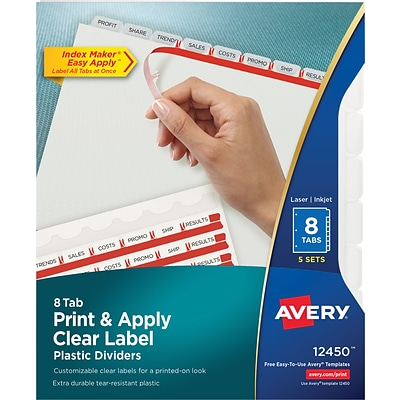 Avery Print & Apply Index Maker Plastic Dividers, 8 Clear Tabs, 5 Sets (12450)