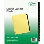 Office Essentials® Preprinted Black Leather Tab Dividers, A-Z Tabs, 8 1/2 x 11, 1/St