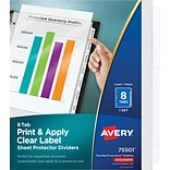 Avery Print & Apply Clear Label Sheet Protector Dividers, Index Maker Easy Peel Printable Labels, 5