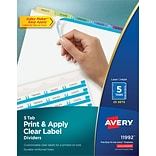 Avery Print & Apply Index Maker Dividers, Contemporary Colors, 5-Tabs, 25 Sets (11992)