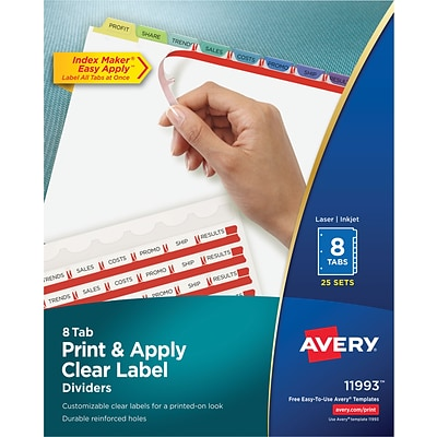 Avery Print & Apply Index Maker Dividers, Contemporary Colors, 8-Tabs, 25 Sets (11993)