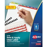 Avery Print & Apply Index Maker Unpunched Plastic Dividers, Contemporary Colors, 8-Tabs, 25 Sets (11