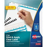 Avery® Index Maker® Clear Label Laser and Inkjet Dividers, Unpunched, 5 Tabs, 5 Sets/Box, White