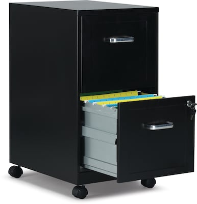 "Quill Brand® 2-Drawer Vertical File Cabinet, Locking, Letter, Black, 18""D (52145)"