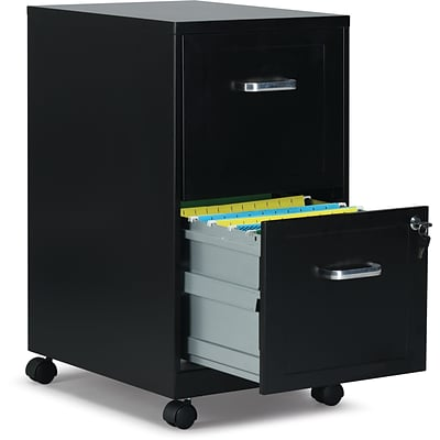 Quill Brand® 2-Drawer Vertical File Cabinet, Locking, Letter, Black, 18D (52145)