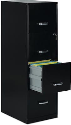 "Quill Brand® 4-Drawer Vertical File Cabinet, Locking, Letter, Black, 18""D (52152)"