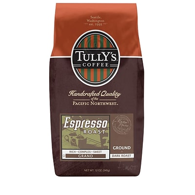 Tullys Coffee, Espresso Roast Ground Coffee, Dark Roast, 12 Oz.