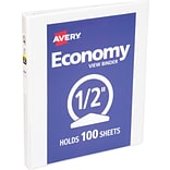 Avery® Economy Round 3-Ring View Binder, 1/2, White (5706)