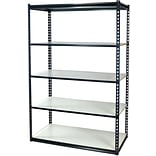 Storage Concepts Office Shelving, Low Profile Boltless, 5 Shelves with White Laminated Board, 96H x