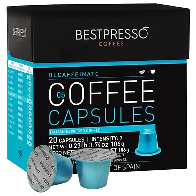 Bestpresso® Compatible Nespresso® Pods, Decaffeinato Blend, Light Intensity, 20 Capsules per Box (BEST-05DECAF)