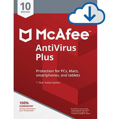 McAfee AntiVirus Plus for 10 Devices for Windows (1-10 Users), Download (67DV3RYATRCNN5B)