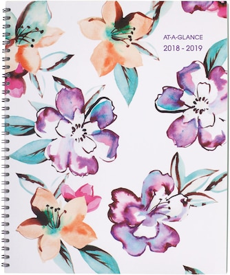 "2018-2019 AT-A-GLANCE® Academic June Weekly/Monthly Planner, 12 Months, Floral, 8-1/2"" x 11"" (1012-905A-19)"