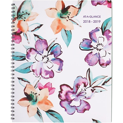 2018-2019 AT-A-GLANCE® Academic June Weekly/Monthly Planner, 12 Months, Floral, 8-1/2 x 11 (1012-905A-19)