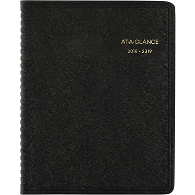 2018-2019 AT-A-GLANCE® 6 7/8 x 8 3/4 Academic Monthly Planner, 18 Months, Black  (70-127-05-19)