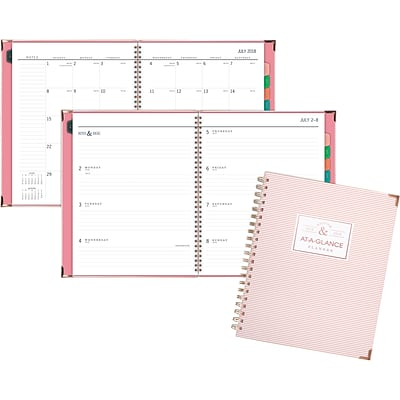 2018-2019 AT-A-GLANCE® 8 1/2 x 11 Badge Stripe Academic Weekly/Monthly Planner (6124S-905A-19)