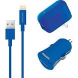 Apple Certified MFI Lightning USB 3pcs Home & Car Charger Set For iPhone iPod & iPad (DAC3IN1BLU)