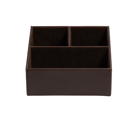 Staples® Desk Organizer, Faux Leather, Brown