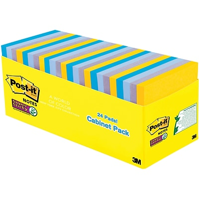 Post-it® Super Sticky Notes, 3 x 3, New York Collection, 24 Pads/Pack (654-24SSNY-CP)