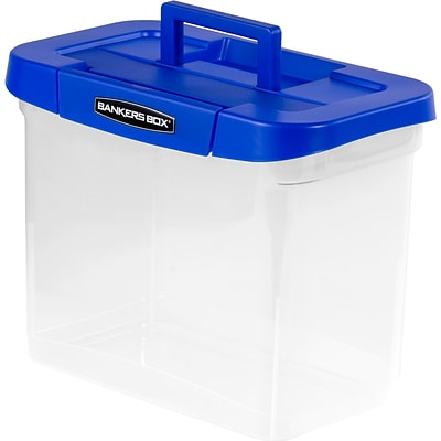 Bankers Box Heavy-Duty Plastic Portable File Storage Boxes with Organizer Lid Compartment, Letter Size, Blue/Clear (0086301)