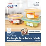 Avery Dissolvable Rectangle Labels, 1-1/4 x 2-3/8, Pack of 90 (4224)